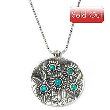 128-245 - Passage to Israel Sterling Silver Turquoise ''Field of Sunflowers'' Pendant w/ Chain