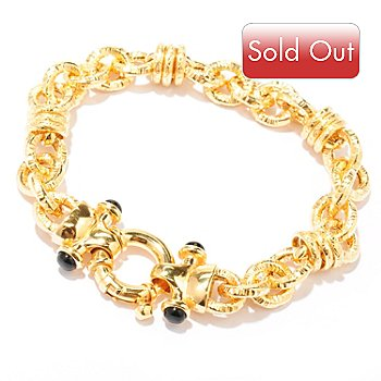 128-271 - Scintilloro™ Gold Embraced™ 8'' Black Onyx Hammered Bracelet