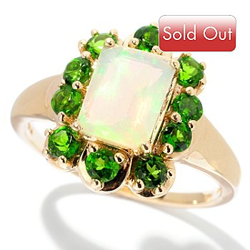 128-278 - Gem Treasures 14K Gold 8 x 6mm Emerald Cut Opal & Chrome Diopside Ring