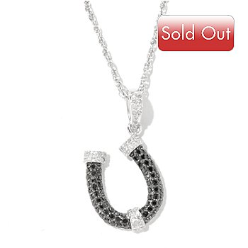 128-279 - Diamond Treasures Sterling Silver 0.50ctw Black & White Diamond Horseshoe Pendant