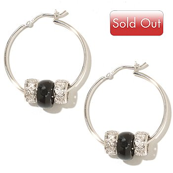 128-287 - Gem Treasures Sterling Silver Hoop Earrings w/ Interchangeable Charms