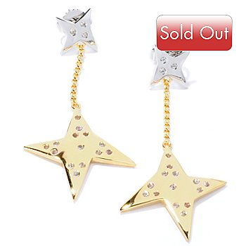 128-294 - Michelle Albala White Sapphire Geometric Star Dangle Earrings