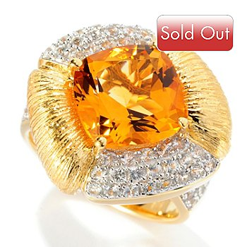 128-298 - Michelle Albala 4.14ctw Citrine & White Sapphire Brushed Ring