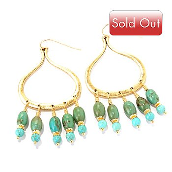 128-348 - mariechavez Turquoise Bead Dangle Earrings