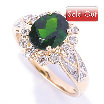 128-391 - Gem Treasures 14K Gold 2.16ctw Oval Chrome Diopside & Diamond Ring