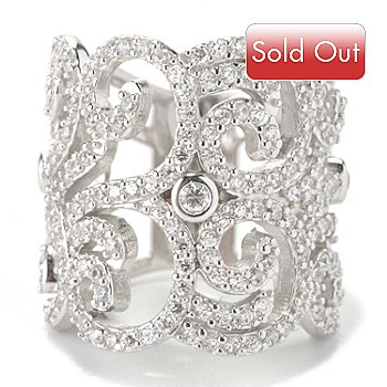 128-404 - Charlie Lapson for Brilliante® Platinum Embraced™ 2.74 DEW Round Cut Wide Swirl Ring