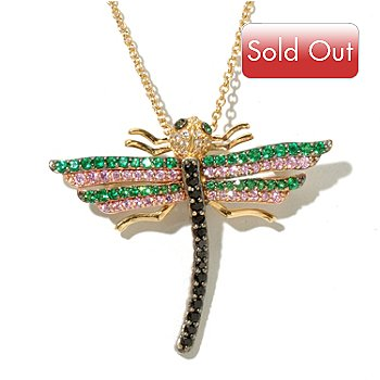 128-418 - Neda Behnam Gold-Embraced™ Simulated Diamond Dragonfly Pin/Pendant w/ Chain