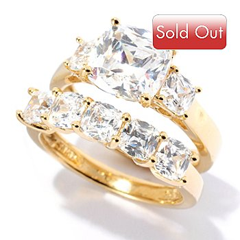 128-436 - Brilliante® 3.82 DEW Simulated Diamond Two-Piece Ring Set