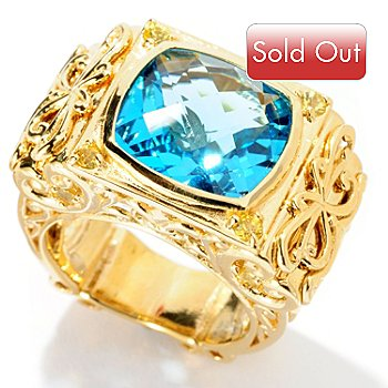 128-457 - Dallas Prince Designs 7.15ctw Swiss Blue Topaz & Yellow Sapphire Filigree Ring