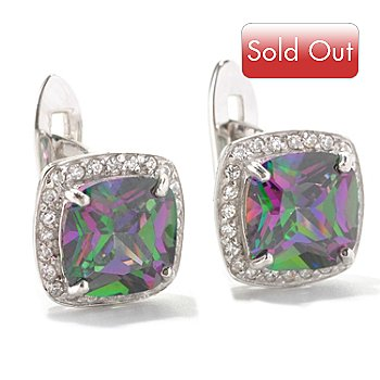 128-463 -  Brilliante® Platinum Embraced™ 5.48 DEW Simulated Mystic Topaz Halo Earrings