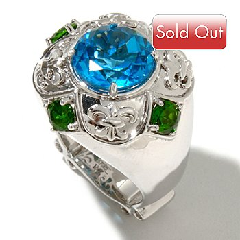128-481 - Dallas Prince Designs Sterling Silver 5.77ctw Chrome Diopside & Blue Topaz Ring