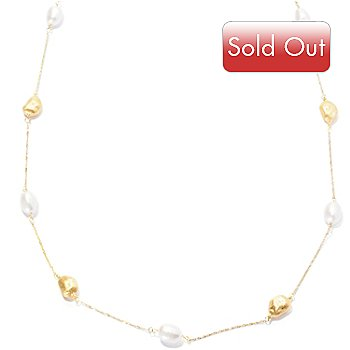 128-489 - Viale18K® Italian Gold 36'' Cultured Freshwater Pearl Station Necklace