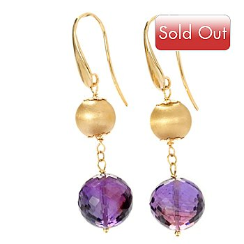 128-491 - Viale18K® Italian Gold 12.36ctw Amethyst Dangle Earrings