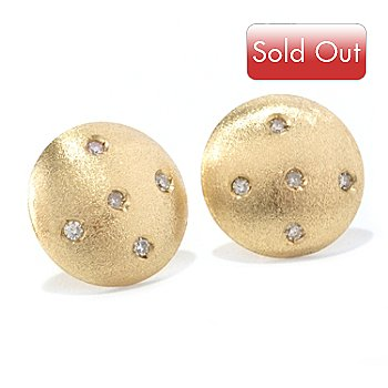 128-499 - Viale18K® Italian Gold 0.10ctw Diamond Satin Finished Button Earrings