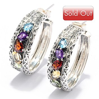 128-530 - Sterling Artistry by EFFY 2.04ctw Multi Gemstone Hoop Earrings