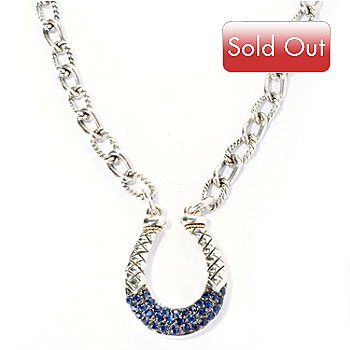 128-534 - Sterling Artistry by EFFY 17.75'' Sapphire Textured Horseshoe Toggle Necklace