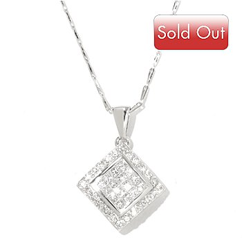 128-599 - Beverly Hills Elegance 14K White Gold 1.00ctw Square Diamond Pendant w/ 18'' Chain