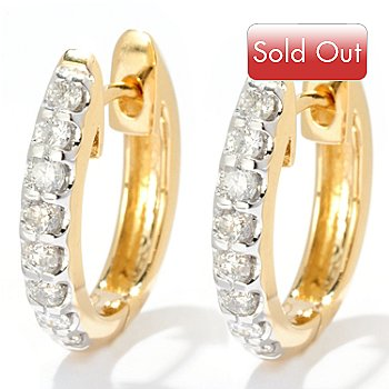 128-604 - Beverly Hills Elegance 14K Gold 0.48ctw Diamond Huggie Hoop Earrings