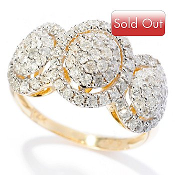 128-608 - Beverly Hills Elegance 14K Gold 0.99ctw Diamond Three-Station Ring