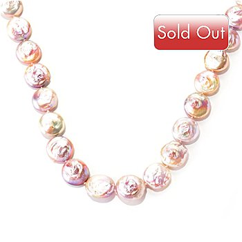 128-686 - Sterling Silver 34'' 18-20mm Freshwater Cultured Coin Pearl Necklace