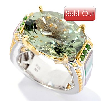 128-695 - Gems en Vogue II 9.49ctw Prasiolite & Multi Gemstone Inlay Ring