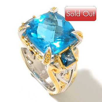128-716 - Gems en Vogue II 12.29ctw Swiss Blue Topaz, London Blue Topaz & Sapphire Ring