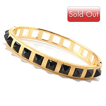 128-752 - Michelle Albala 7.25'' Black Onyx Polished & Brushed Hinged Bangle Bracelet