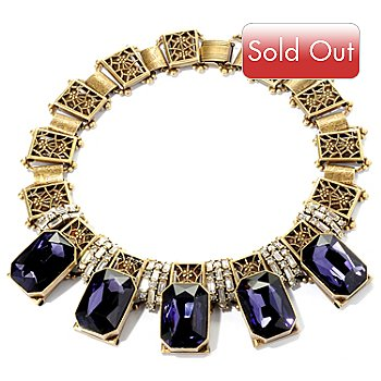 128-778 - Sweet Romance™ Gold-tone 17'' Purple Octagon & White Crystal Necklace