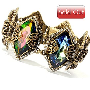 128-782 - Sweet Romance™ Gold-tone Multi Color Marquise Crystal Bracelet
