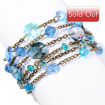 128-785 - Sweet Romance™ 6'' Gold-tone ''Ripple of Blue Crystal'' Bracelet