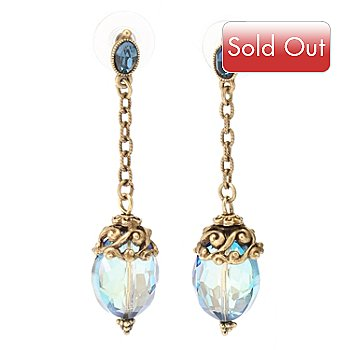 128-787 - Sweet Romance™ Gold-tone Blue Mystic Crystal Drop Earrings