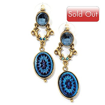 128-790 - Sweet Romance™ Gold-tone Peacock Pinwheel Drop Earrings