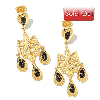 128-801 - Jordan Scott Black Spinel Polished Chandelier Earrings