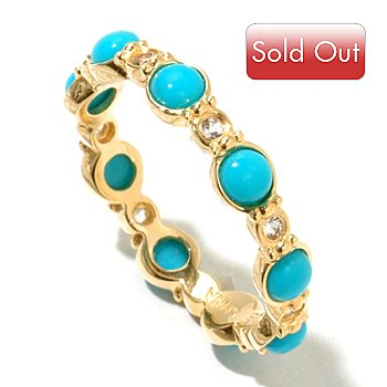128-803 - Jordan Scott Turquoise & White Sapphire Eternity Band Ring