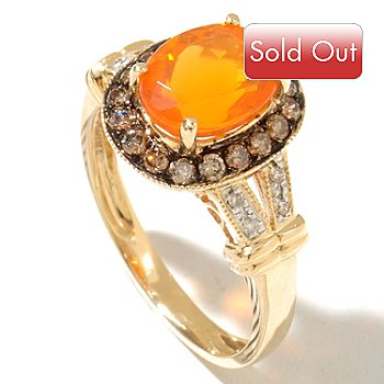 128-824 - Gem Treasures 14K Gold 9 x 7mm Oval Fire Opal, Champagne & White Diamond Ring