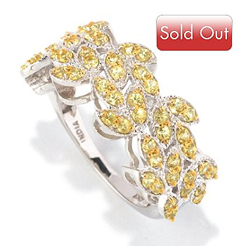 128-826 - Gem Treasures Sterling Silver 1.00ctw Yellow Sapphire Marquise Band Ring
