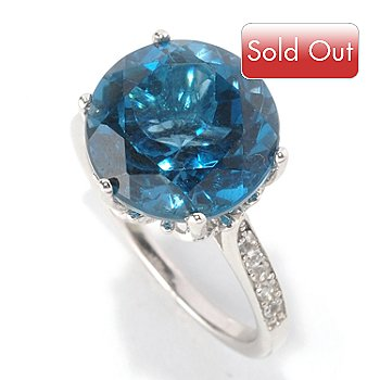 128-839 - Gem Insider Sterling Silver 7.00ctw Round London Blue Topaz & White Topaz Ring
