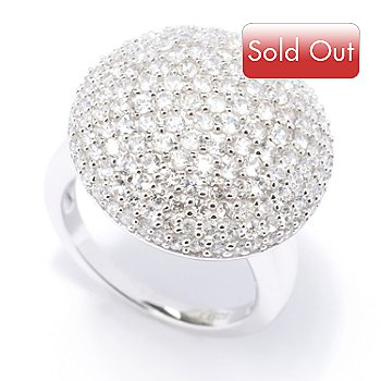 128-843 - Gem Treasures Sterling Silver 2.66ctw White Zircon Pave Round Ring