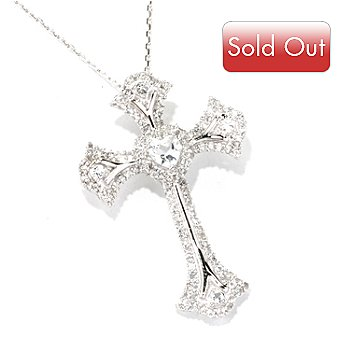 128-846 - Gem Treasures Sterling Silver 3.26ctw White Topaz Heart & Cross Pendant