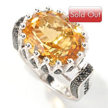 128-849 - Gem Treasures Sterling Silver 8.58ctw Citrine & Black Spinel East-West Ring