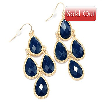 128-869 - Meghan Browne Style Gold-tone Pear Shaped Drop ''Camilla'' Earrings