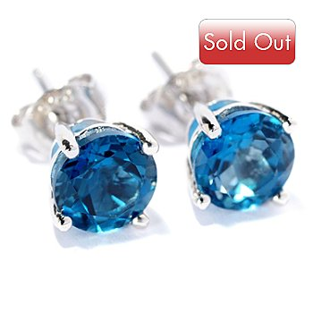 128-896 - Gem Insider Sterling Silver 6mm Round Exotic gemstone Stud Earrings