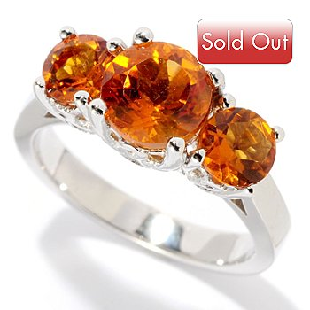 128-902 - Gem Insider Sterling Silver Exotic Gemstone Three-Stone Ring