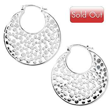 128-935 - Kit Heath Sterling Silver ''Champagne'' Hoop Earrings