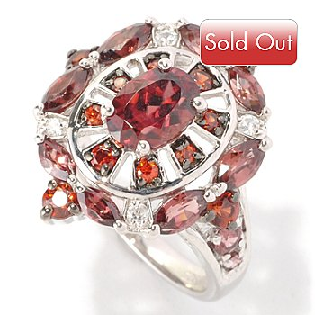 128-959 - Gem Insider Sterling Silver 2.80ctw Red, Mocha & White Zircon Ring