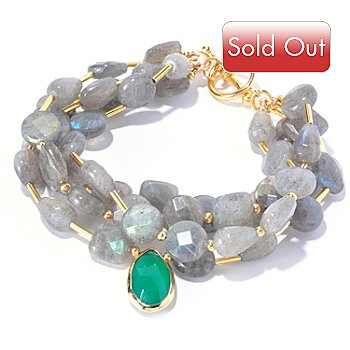 128-966 - Gems of Distinction Labradorite & Green Onyx Drop Multi Strand Bracelet