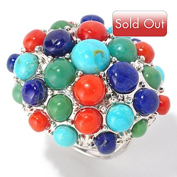 128-973 - Gem Insider Sterling Silver Turquoise, Coral & Lapis East-West Oval Bubble Ring