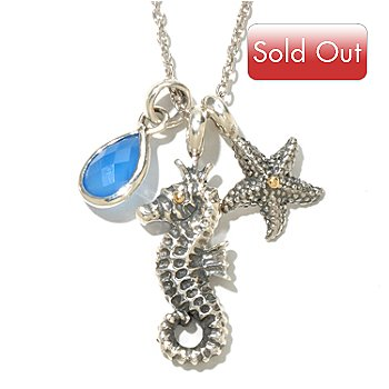 128-981 - Artisan Silver by Samuel B. 30'' Chalcedony Sea Life Charm Necklace