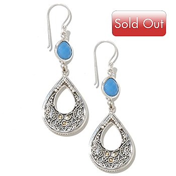 128-982 - Artisan Silver by Samuel B. 8 x 7mm Chalcedony Teardrop Earrings