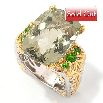 129-003 - Gems en Vogue II 13.96ctw Prasiolite & Chrome Diopside Square Shank Ring